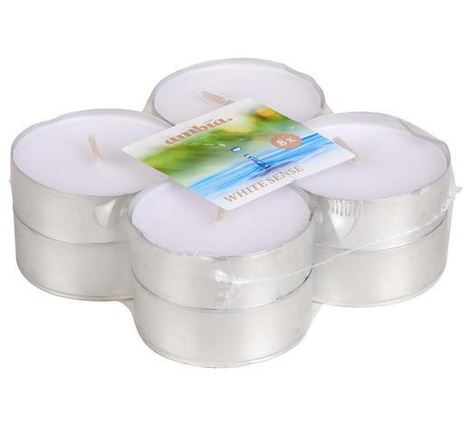ČAJOVÁ SVÍČKA - bílá/barvy hliníku, Basics, kov (5,7/2,2cm) - Ambia Home