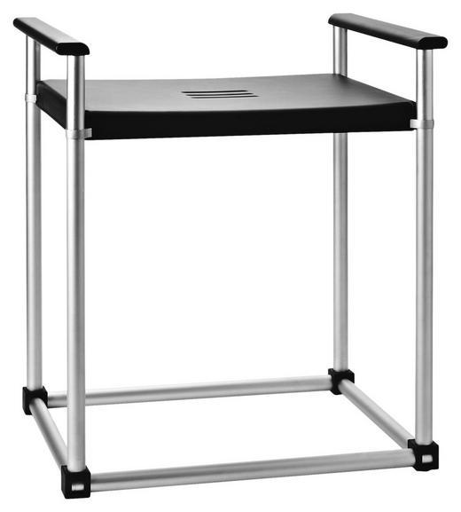 BADHOCKER Metall, Kunststoff - Silberfarben/Schwarz, Basics, Kunststoff/Metall (50/58/39cm)