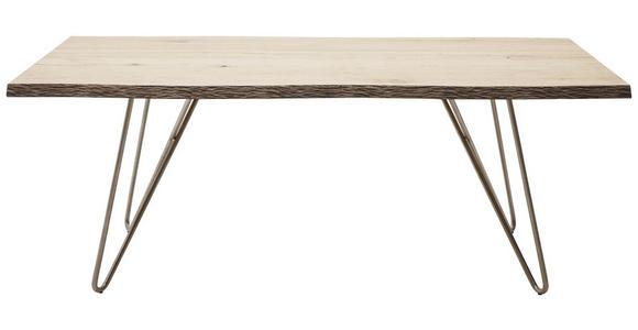 ESSTISCH in Holz, Metall 160/110/77 cm  - Edelstahlfarben/Eichefarben, Design, Holz/Metall (160/110/77cm) - Dieter Knoll