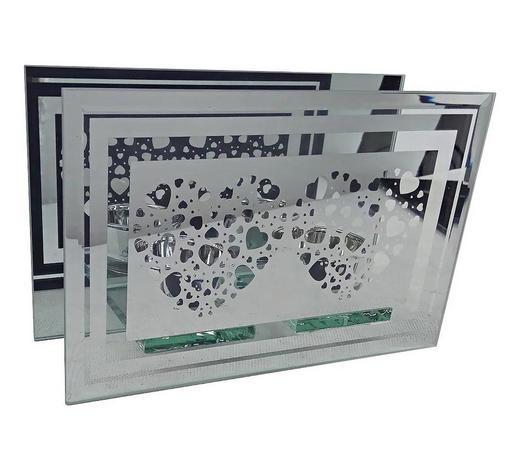 TEELICHTHALTER - Klar/Silberfarben, Basics, Glas (18,5/6,3/12cm) - Ambia Home