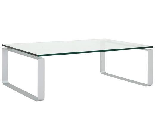 COUCHTISCH in Metall, Glas 120/80/38 cm - Klar/Grau, Design, Glas/Metall (120/80/38cm) - Rolf Benz