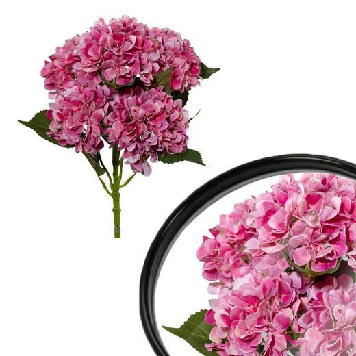 KUNSTBLUME Hortensie - Pink/Grün, Trend, Kunststoff/Metall (63cm)