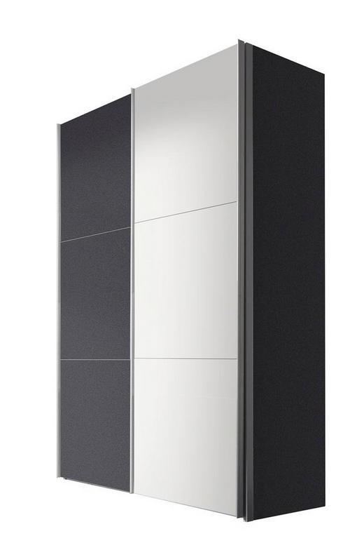 SCHWEBETÜRENSCHRANK 2-türig Graphitfarben, Weiß - Graphitfarben/Alufarben, KONVENTIONELL, Holzwerkstoff/Metall (150/216/68cm) - Hom`in