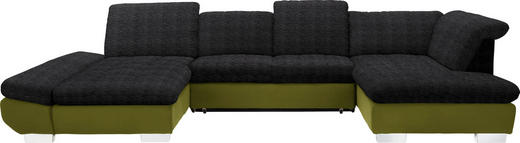 WOHNLANDSCHAFT in Textil Grün, Dunkelbraun - Chromfarben/Dunkelbraun, Design, Kunststoff/Textil (204/350/211cm) - Xora
