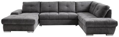 WOHNLANDSCHAFT Grau Webstoff  - Chromfarben/Grau, KONVENTIONELL, Kunststoff/Textil (184/341/216cm) - Hom`in
