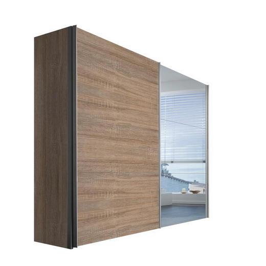 SCHWEBETÜRENSCHRANK 2  -türig Sonoma Eiche - Alufarben/Sonoma Eiche, KONVENTIONELL, Glas/Holzwerkstoff (250/216/68cm) - Hom`in
