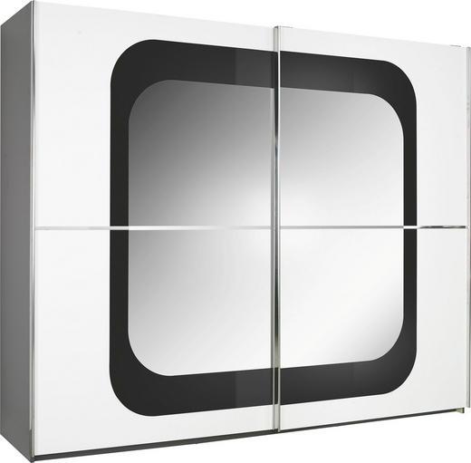 SCHWEBETÜRENSCHRANK 2-türig Anthrazit, Weiß - Chromfarben/Anthrazit, Design, Glas/Holzwerkstoff (270/223/69cm) - Xora