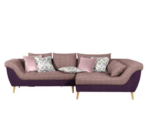 WOHNLANDSCHAFT in Textil Rosa, Violett - Violett/Naturfarben, Design, Holz/Textil (313/175cm) - Carryhome