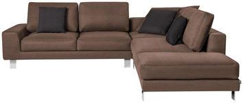 WOHNLANDSCHAFT in Textil Braun  - Chromfarben/Braun, Design, Textil/Metall (316/273cm) - Dieter Knoll