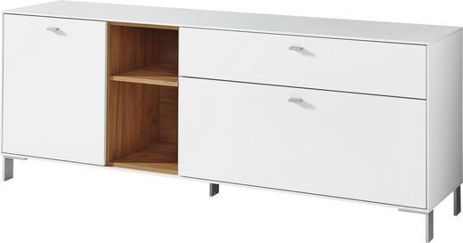 LOWBOARD melaminharzbeschichtet Weiß, Eichefarben - Eichefarben/Silberfarben, Design, Holzwerkstoff/Metall (167/65/44cm) - Carryhome