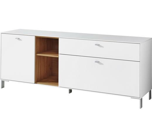 LOWBOARD 167/65/44 cm - Eichefarben/Silberfarben, Design, Holzwerkstoff/Metall (167/65/44cm)