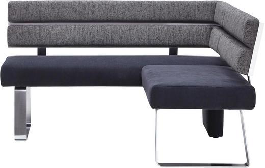 ECKBANK Chenille Anthrazit, Grau - Anthrazit/Alufarben, KONVENTIONELL, Textil/Metall (157/158cm) - MODERANO
