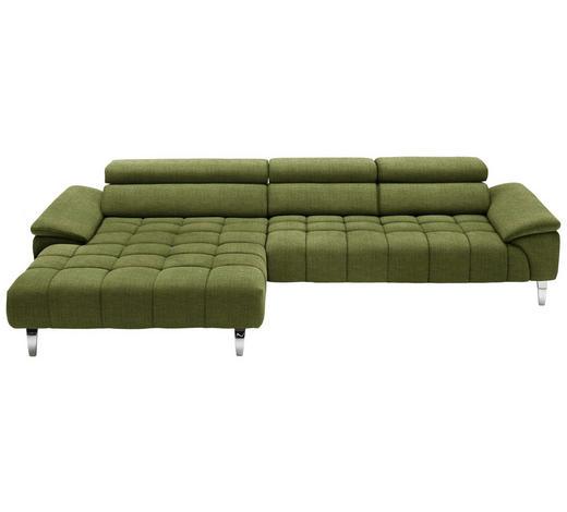 WOHNLANDSCHAFT in Textil Grün - Chromfarben/Grün, Design, Textil/Metall (190/329cm) - Beldomo Style