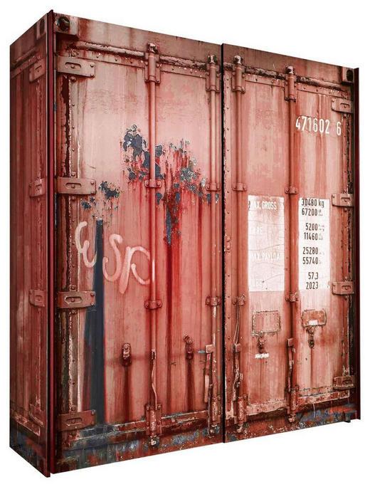 Schwebetürenschrank in Rot, Schwarz - Anthrazit/Rot, Design, Holzwerkstoff/Metall (170/195/60cm) - STYLIFE