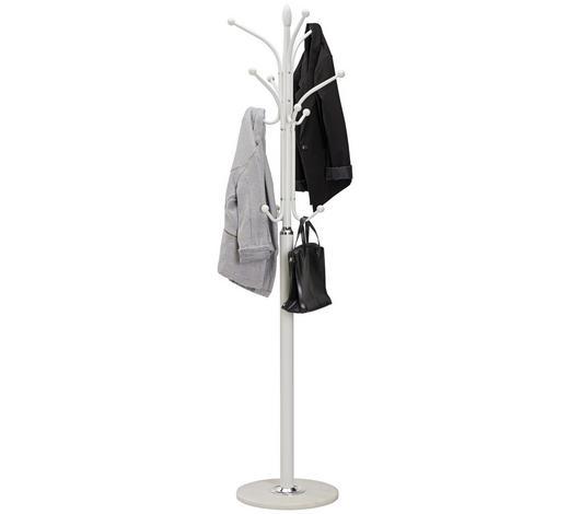 KLEIDERSTÄNDER Silberfarben, Weiß  - Silberfarben/Weiß, Design, Stein/Metall (37/180/37cm) - Carryhome