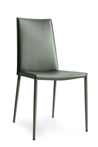 STUHL Echtleder Taupe - Taupe, Design, Leder/Metall (48/90/52cm)