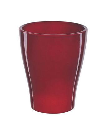 NÁDOBA NA KVĚTINÁČ - tmavě červená, Basics, keramika (10/10/13cm)