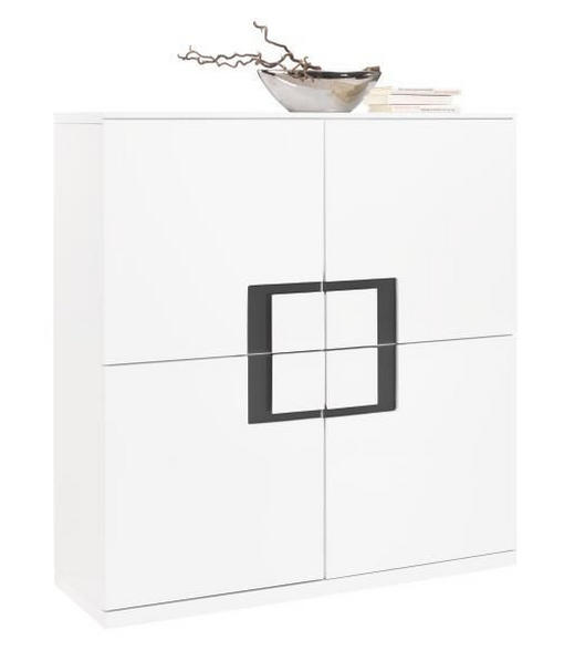 KOMMODE Grau, Weiß - Weiß/Grau, Design, Glas/Holzwerkstoff (120/128/40cm) - XORA