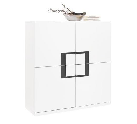 KOMMODE Hochglanz, lackiert Grau, Weiß - Weiß/Grau, Design, Glas/Holzwerkstoff (120/128/40cm) - Xora