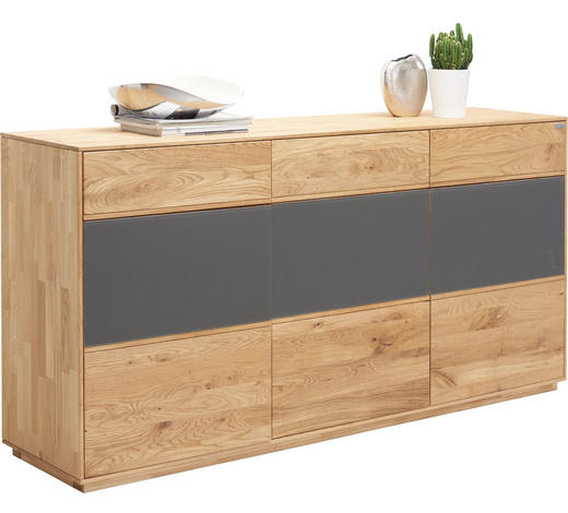 KOMODA SIDEBOARD, dub, antracitová, barvy dubu - barvy dubu/antracitová, Design, dřevo/sklo (177/89/42cm) - Valnatura