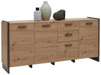 SIDEBOARD Grau, Eichefarben  - Eichefarben/Grau, Design, Holzwerkstoff/Kunststoff (187/86/41cm) - Hom`in