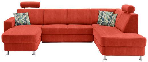 WOHNLANDSCHAFT in Textil Orange - Chromfarben/Multicolor, Design, Kunststoff/Textil (165/301/198cm) - Xora