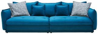 VELKÁ POHOVKA, textil, petrolej - petrolej/vícebarevná, Design, textil (295/88/134cm) - Hom`in