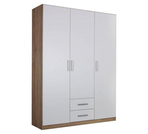 DREHTÜRENSCHRANK in Weiß, Eichefarben - Eichefarben/Silberfarben, Design, Holzwerkstoff/Kunststoff (136/197/54cm) - Carryhome