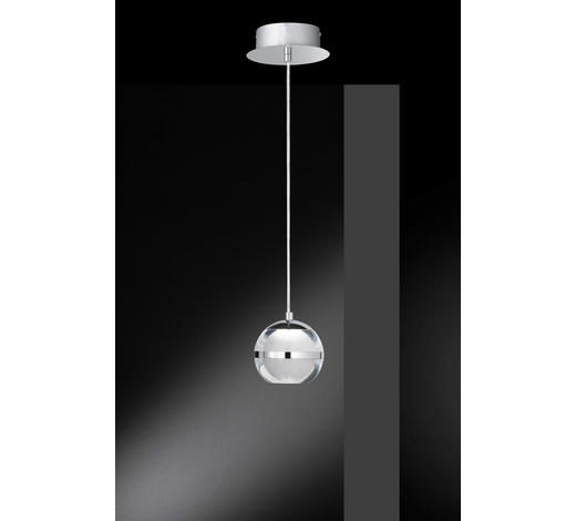 LED-HÄNGELEUCHTE   - Chromfarben, Design, Kunststoff/Metall (12/150cm)