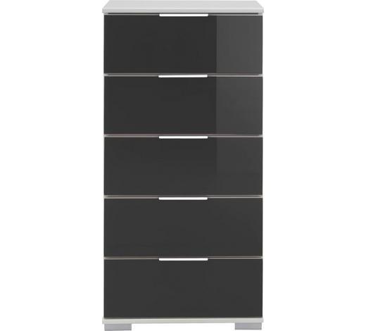KOMMODE Schwarz, Weiß - Chromfarben/Schwarz, Design, Glas/Kunststoff (49/102/41cm) - Carryhome