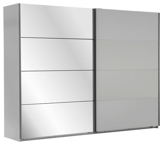 SCHWEBETÜRENSCHRANK 2-türig Weiß - Eichefarben/Alufarben, Design, Glas/Holzwerkstoff (225/210/59cm) - Carryhome