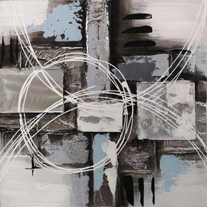 OLJEMÅLNING - vit/blå, Design, metall/trä (30/30/2.5cm) - Monee