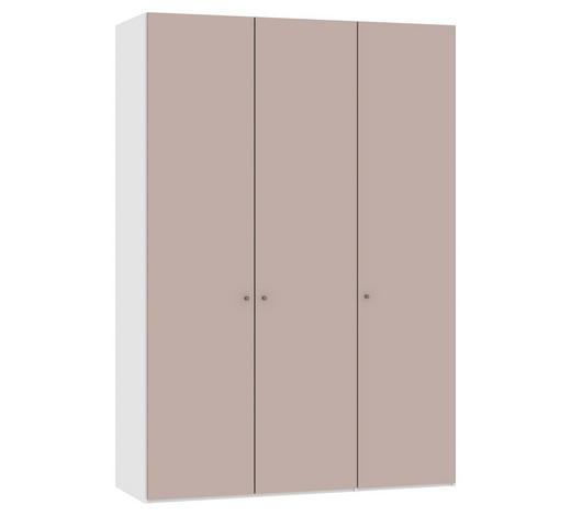DREHTÜRENSCHRANK in Rosa, Weiß  - Silberfarben/Rosa, Design, Glas/Holzwerkstoff (152,2/220/58,5cm) - Jutzler