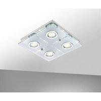 LED-DECKENLEUCHTE   - Chromfarben, Design, Glas/Kunststoff (29/29/7cm) - Novel