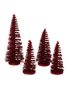 Deko Weihnachtsbaum 4er Set  Rot   - Rot, Kunststoff - X-Mas
