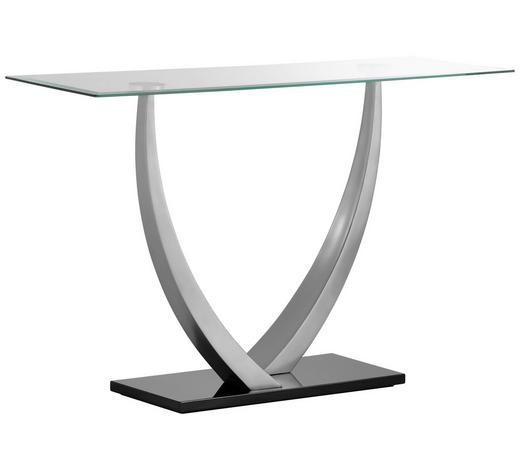 KONSOLE Schwarz, Silberfarben  - Silberfarben/Schwarz, Design, Glas/Metall (120/77/40cm) - Xora