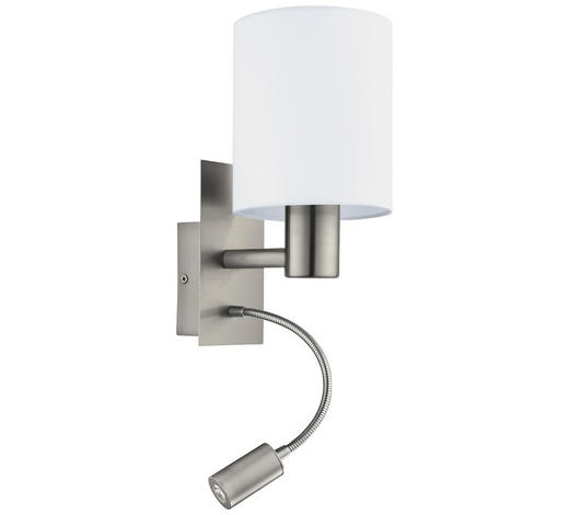LED-WANDLEUCHTE - Weiß/Nickelfarben, Design, Textil/Metall (15/19,5/38cm)