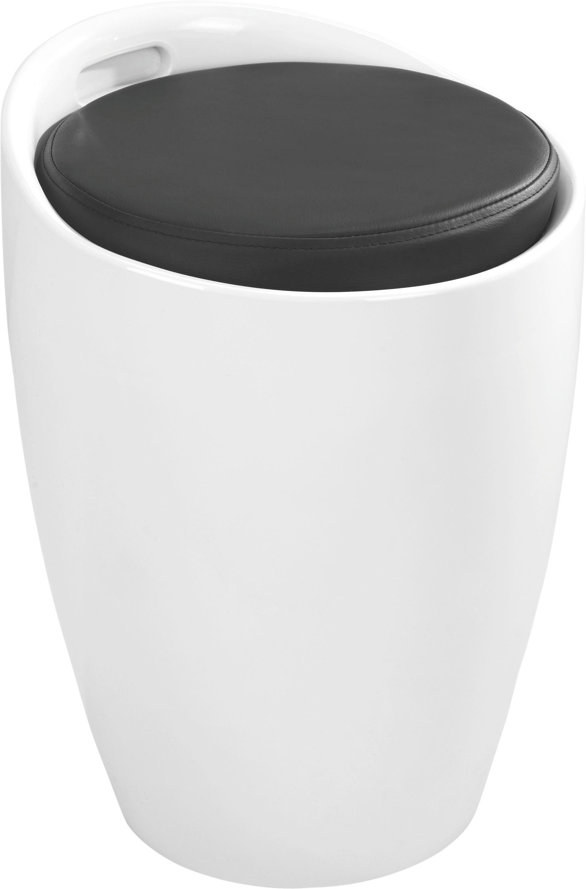 HOCKER Lederlook Schwarz, Weiß - Schwarz/Weiß, Design, Kunststoff/Textil (35.5/51/35.5cm)
