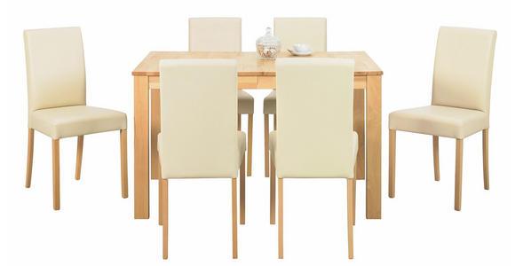 STUHL Lederlook Beige, Buchefarben - Beige/Buchefarben, KONVENTIONELL, Holz/Textil (43/90/56cm) - Cantus