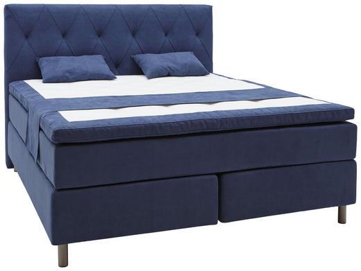 BOXSPRINGBETT 180/200 cm  INKL. Matratze, Topper - Blau/Grau, Design, Holz/Textil (180/200cm) - Elegando