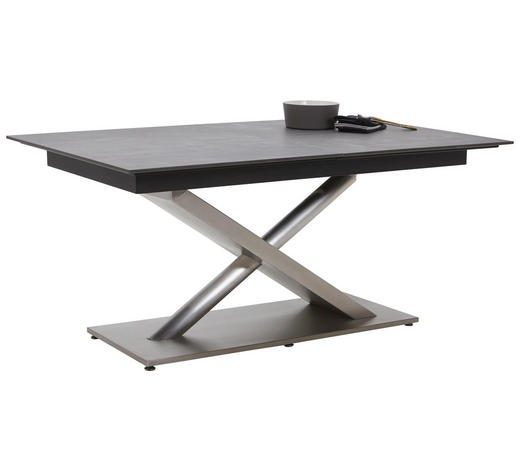 ESSTISCH rechteckig Edelstahlfarben, Dunkelgrau  - Edelstahlfarben/Dunkelgrau, Design, Holzwerkstoff/Metall (160(210)/100/77cm) - Dieter Knoll