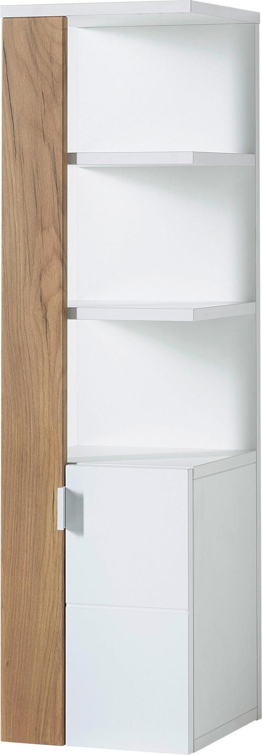 BADEZIMMERREGAL Eichefarben, Weiß - Edelstahlfarben/Eichefarben, Design, Holzwerkstoff/Metall (30/107/32cm) - Xora
