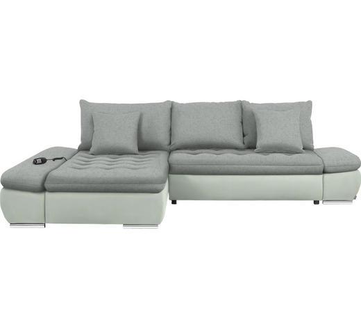 WOHNLANDSCHAFT in Textil Weiß, Hellgrau  - Chromfarben/Hellgrau, Design, Textil/Metall (200/309cm) - Hom`in