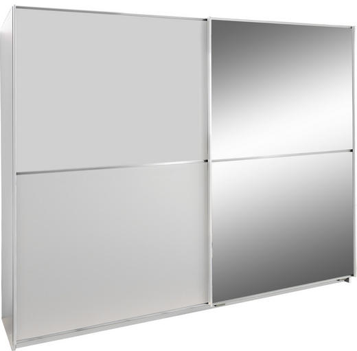 SCHWEBETÜRENSCHRANK 2-türig Weiß - Alufarben/Weiß, Design, Glas/Holzwerkstoff (180/198/64cm) - Xora