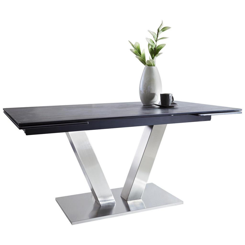 Esstisch mit Tischplatte aus Porzellan und Glas
