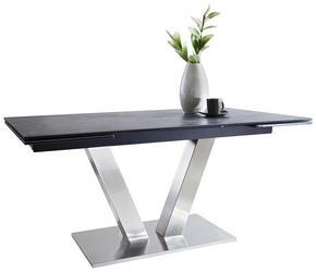 MATBORD - mörkgrå/rostfritt stål-färgad, Design, metall/glas (160(240)/90/76cm) - Novel
