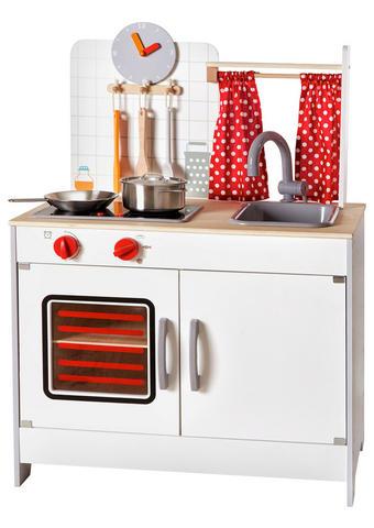 Kinderküche - Rot/Weiß, Natur, Holz/Holzwerkstoff (60/36/82cm) - Ben'n'jen