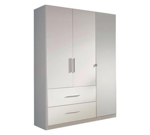 KLEIDERSCHRANK 3-türig Weiß - Alufarben/Weiß, Design, Glas/Holzwerkstoff (136/197/54cm) - Carryhome