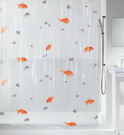 DUSCHVORHANG  Orange, Transparent 180/200 cm - Transparent/Orange, Basics, Kunststoff (180/200cm) - SPIRELLA