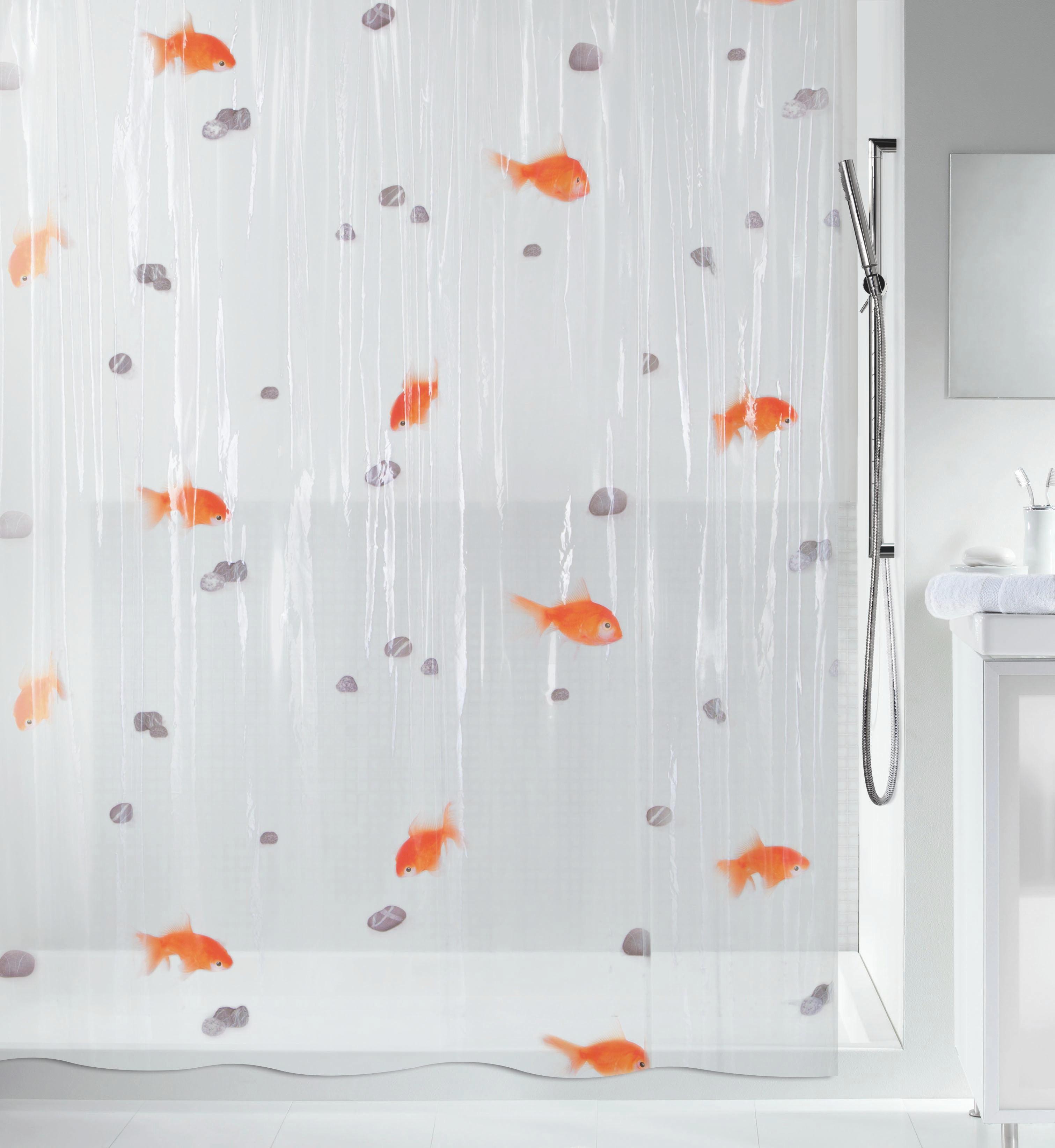 DUSCHVORHANG  Orange, Transparent 180/200 cm - Transparent/Orange, Basics, Kunststoff (180/200cm)